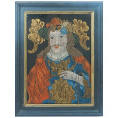 Reverse Painting on Glass French Cavalier Vintage, Early 20th Century