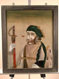 Reverse Painting On Glass, Portrait Of A Mughul Prince, India, 19th C