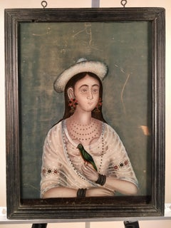 Reverse Painting On Glass, Portrait Of A Woman, India, 19th C