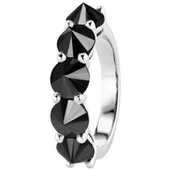 Reverse Set Black Diamond 5-Stone Ring