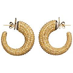 Reverse Set Diamond Hoop Earrings