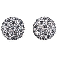 Reverse Set White and Black Diamond Earrings