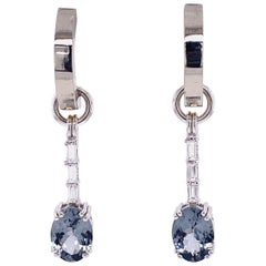 Reversible 18k White and Yellow Gold Hoops with Gray Spinel and Diamond Jackets