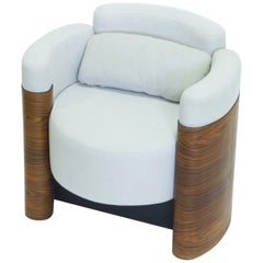 Reversible Armchair in Steel, Wood and Upholstery, Contemporary Design