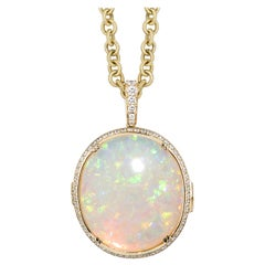 Goshwara  Reversible Australian Opal With Diamonds Pendant