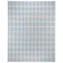 Reversible Baby Blue Flat-Weave Carpet