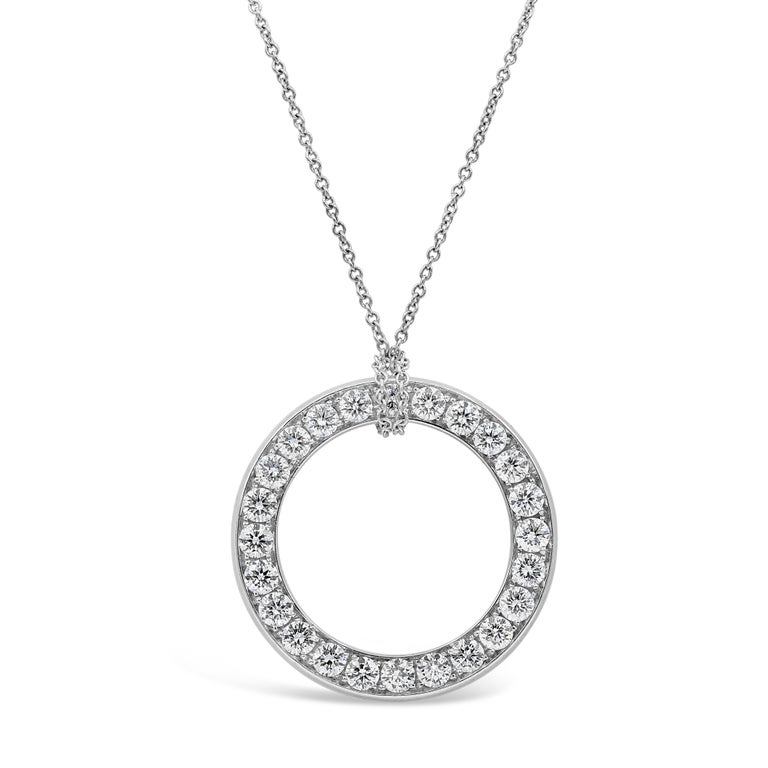 Contemporary Reversible Blue Sapphire and Diamond Circle Pendant Necklace For Sale