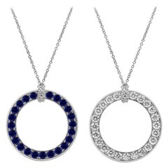 Reversible Blue Sapphire and Diamond Circle Pendant Necklace