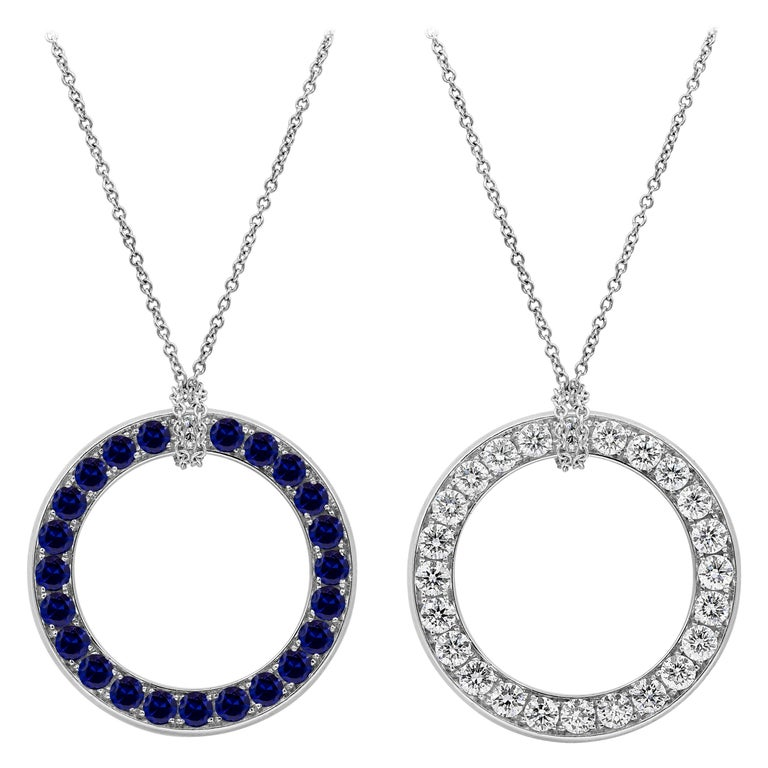 Reversible Blue Sapphire and Diamond Circle Pendant Necklace For Sale