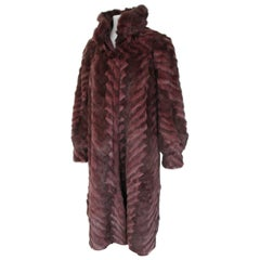 Reversible Bordeaux Long Fur and Leather Snake Print Coat