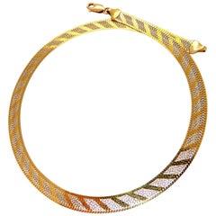 Reversible Cross Wreath Link Necklace 14 Karat