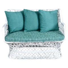 Reversible Cushion Russell Woodard Spun Fiberglass Outdoor Loveseat Couch