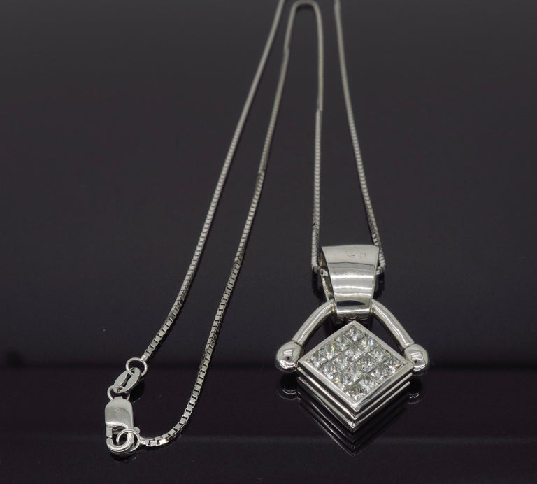 36c059f83d9fa Reversible Diamond and Blue Sapphire Pendant Necklace