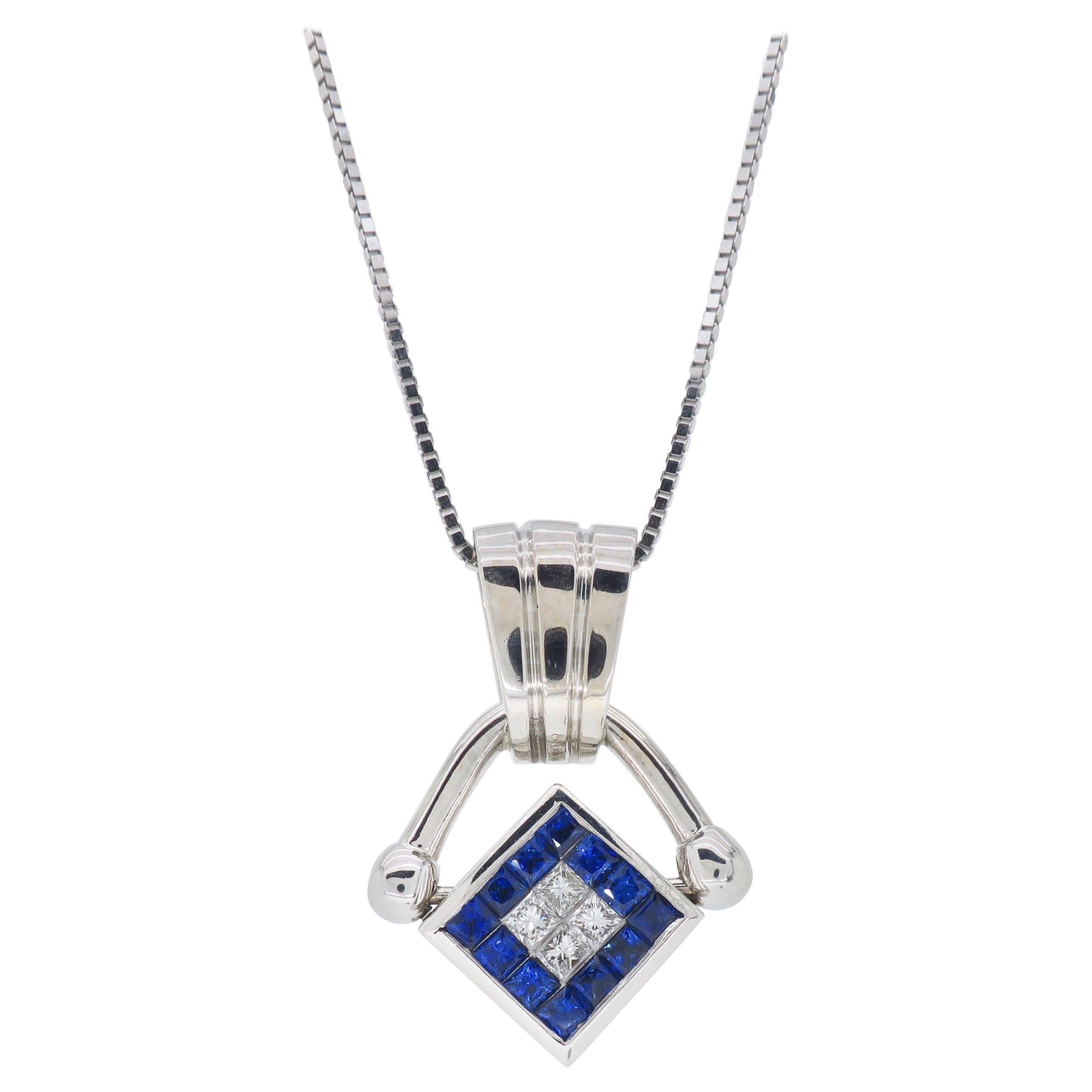 Reversible Diamond and Blue Sapphire Pendant Necklace