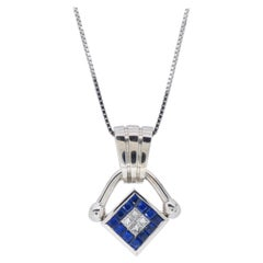 Reversible Diamond and Blue Sapphire Pendant Necklace