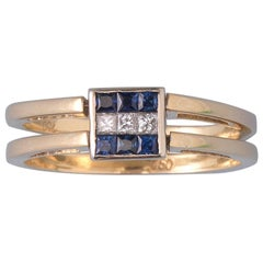 Reversible Gold Ring with Diamonds and Rubies or Sapphires
