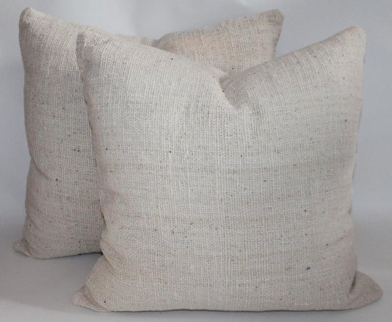 Country Reversible Home Spun Linen Pillows, 4 Pillows For Sale