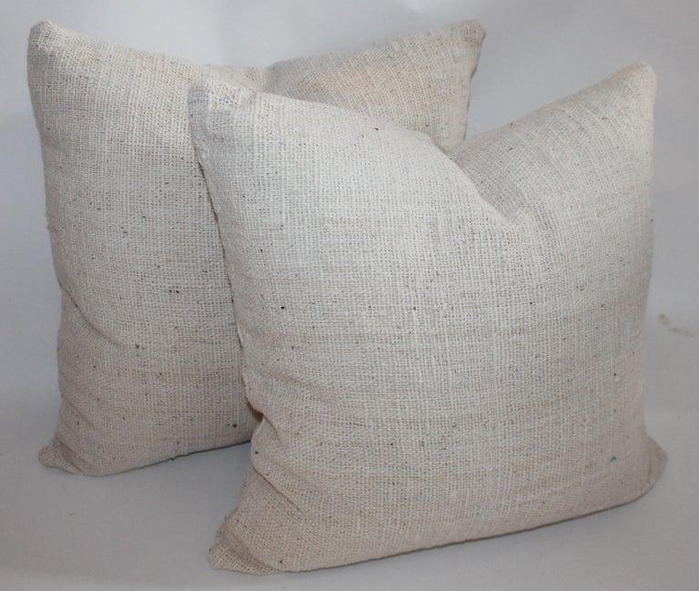 American Reversible Home Spun Linen Pillows, 4 Pillows For Sale
