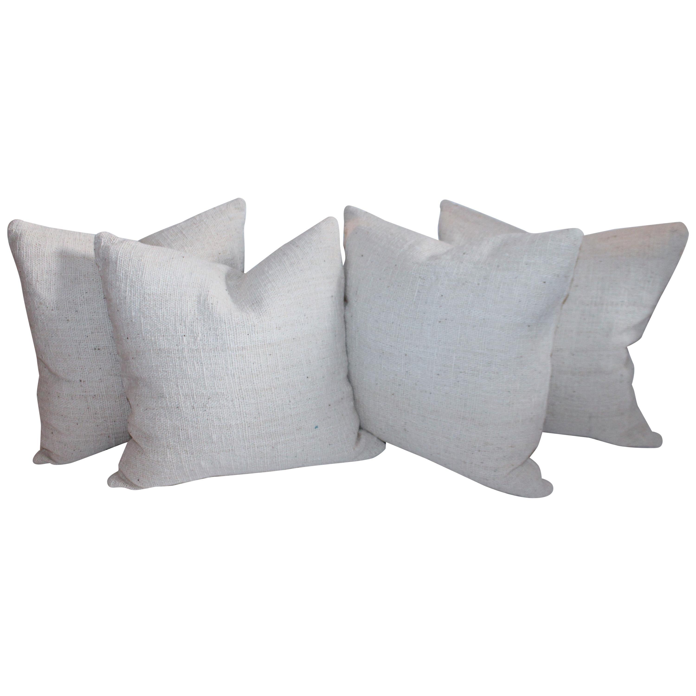 Reversible Home Spun Linen Pillows, 4 Pillows