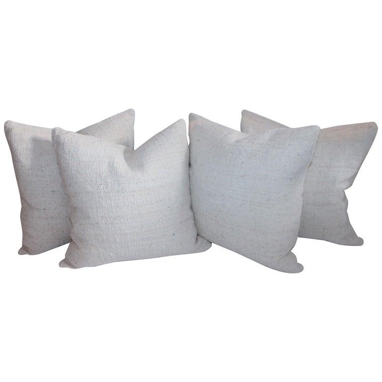 Reversible Home Spun Linen Pillows, 4 Pillows For Sale