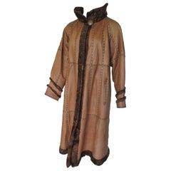 Reversible Long Leather Cognac Broadtail Lamb Fur Coat