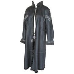 Reversible Long Leather Grey Broadtail Lamb Fur Coat