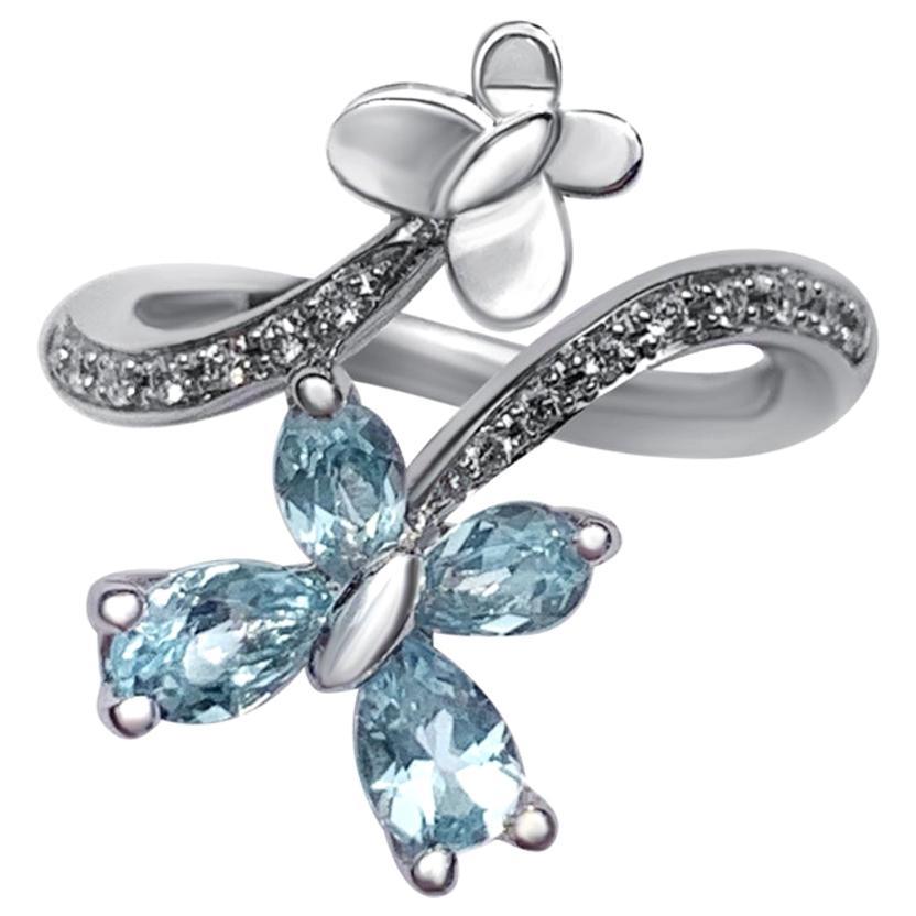 Reversible Modern Blue Topaz White Diamond White 18 Karat Gold Ring