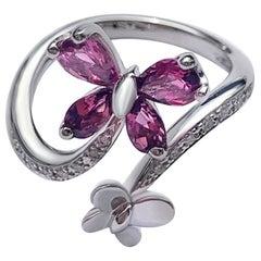 Reversible Modern Pink Tourmaline White Diamond White 18 Karat Gold Ring