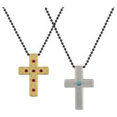Reversible Ruby and Paraiba Tourmaline Cross
