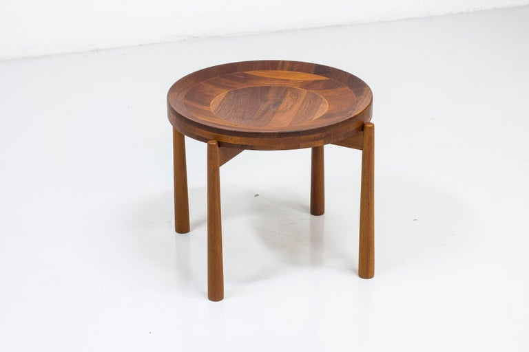 Side table/fruit bowl designed by Jens Harald Quistgaard. Produced in Denmark by Nissen. Made from solid teak and solid staved teak wood. Very good vintage condition with minor signs of age related wear and use.