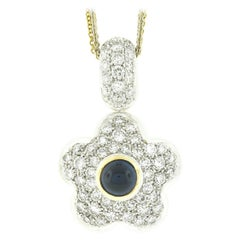 Reversible Two Tone 18k Gold Diamond & Sapphire Puffed Flower Pendant Necklace