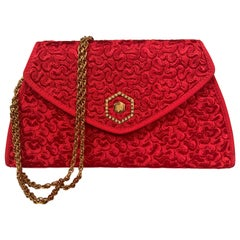 Revillon, Paris Red Leather and Silk Clutch or Shoulder Bag