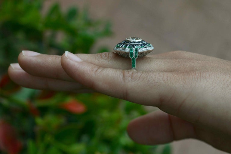 Old European Cut Art Deco Style 2 Carat Diamond Cocktail Ring Emerald Sapphire Engagement Ring For Sale