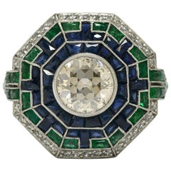 Art Deco Style 2 Carat Diamond Cocktail Ring Emerald Sapphire Engagement Ring