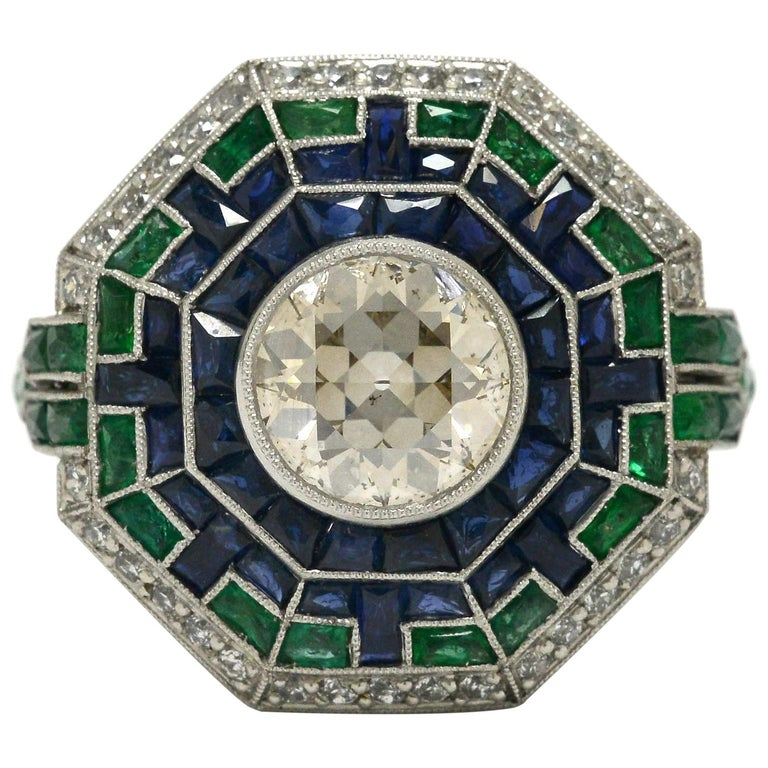 Art Deco Style 2 Carat Diamond Cocktail Ring Emerald Sapphire Engagement Ring For Sale