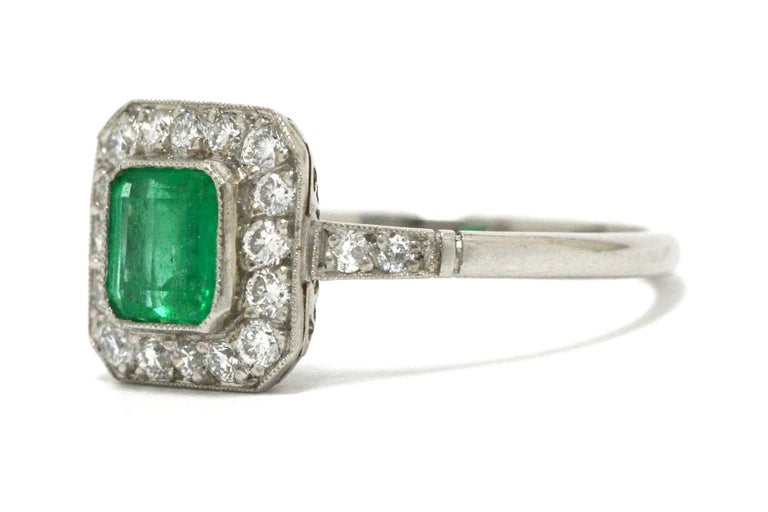 Women's Art Deco Style Colombian Emerald Engagement Ring Square Diamond Halo Platinum For Sale