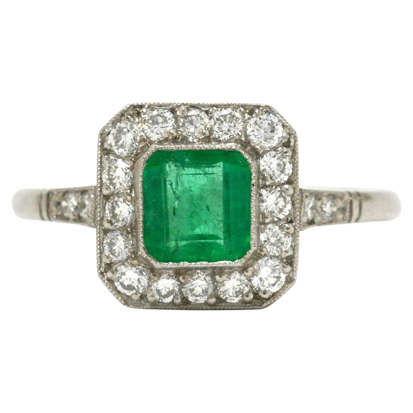 Art Deco Style Colombian Emerald Engagement Ring Square Diamond Halo Platinum