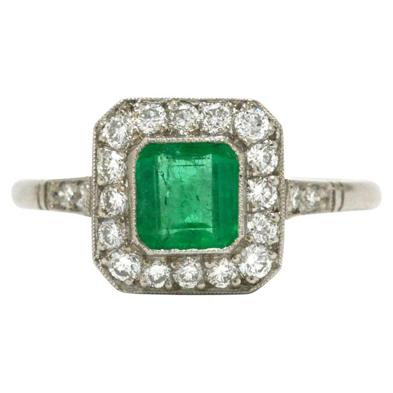 Art Deco Style Colombian Emerald Engagement Ring Square Diamond Halo Platinum For Sale
