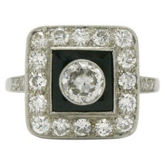 Art Deco Style Diamond and Black Onyx Engagement Ring Square Halo Old European