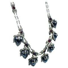 Revival Heart 2 Carat Diamond & Pearl Dangle Necklace with Garnets 18 Karat