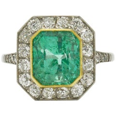 Art Deco Style 3 Carat Colombian Emerald and Diamond Engagement Ring Octagon