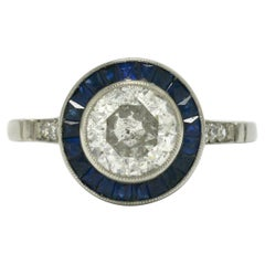 Revivalist Art Deco Diamond Engagement Ring Blue Sapphire Halo Target Old Euro