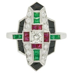 Revivalist Art Deco Diamond Multi Gemstone Engagement Ring Cocktail Statement