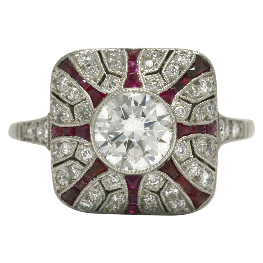 Art Deco Style Diamond Ruby Cocktail Ring Engagement Dome Pyramid Bombe