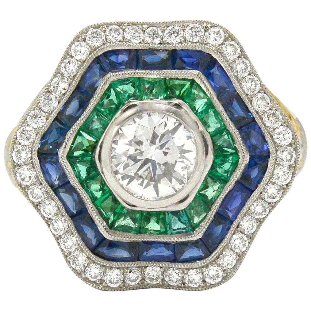 Art Deco Style Diamond Sapphire Emerald Ballerina Ring Cocktail Geometric