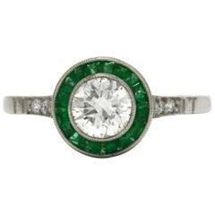 Revivalist Art Deco Diamond Solitaire Engagement Ring Emerald Target 3/4 Carat