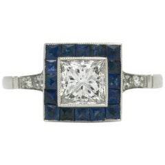 Art Deco Style Princess Cut Diamond Blue Sapphire Engagement Ring 1 Carat