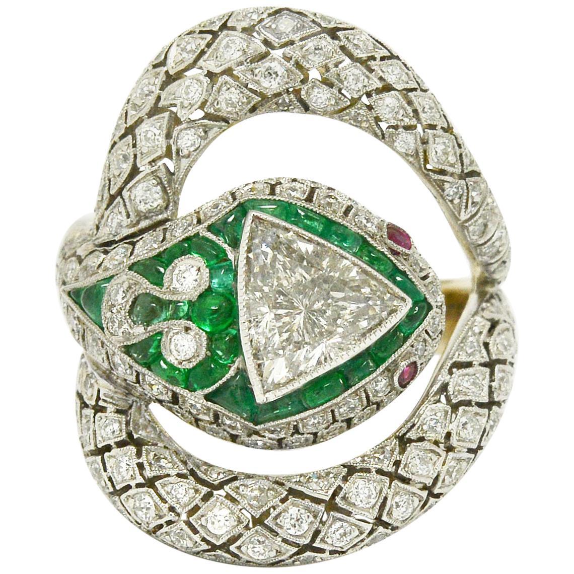 Art Deco Style Snake Ring 1.17 Carat Trillion Diamond Emerald Ruby Egyptian