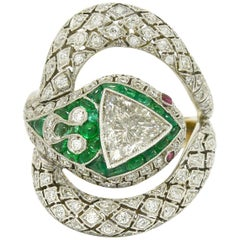 Art Deco Style Snake Ring 1.17 Carat Trillion Diamond Emerald Ruby Egyptian
