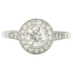 Revivalist Edwardian Old European Diamond Engagement Ring Platinum 3/4 Carat
